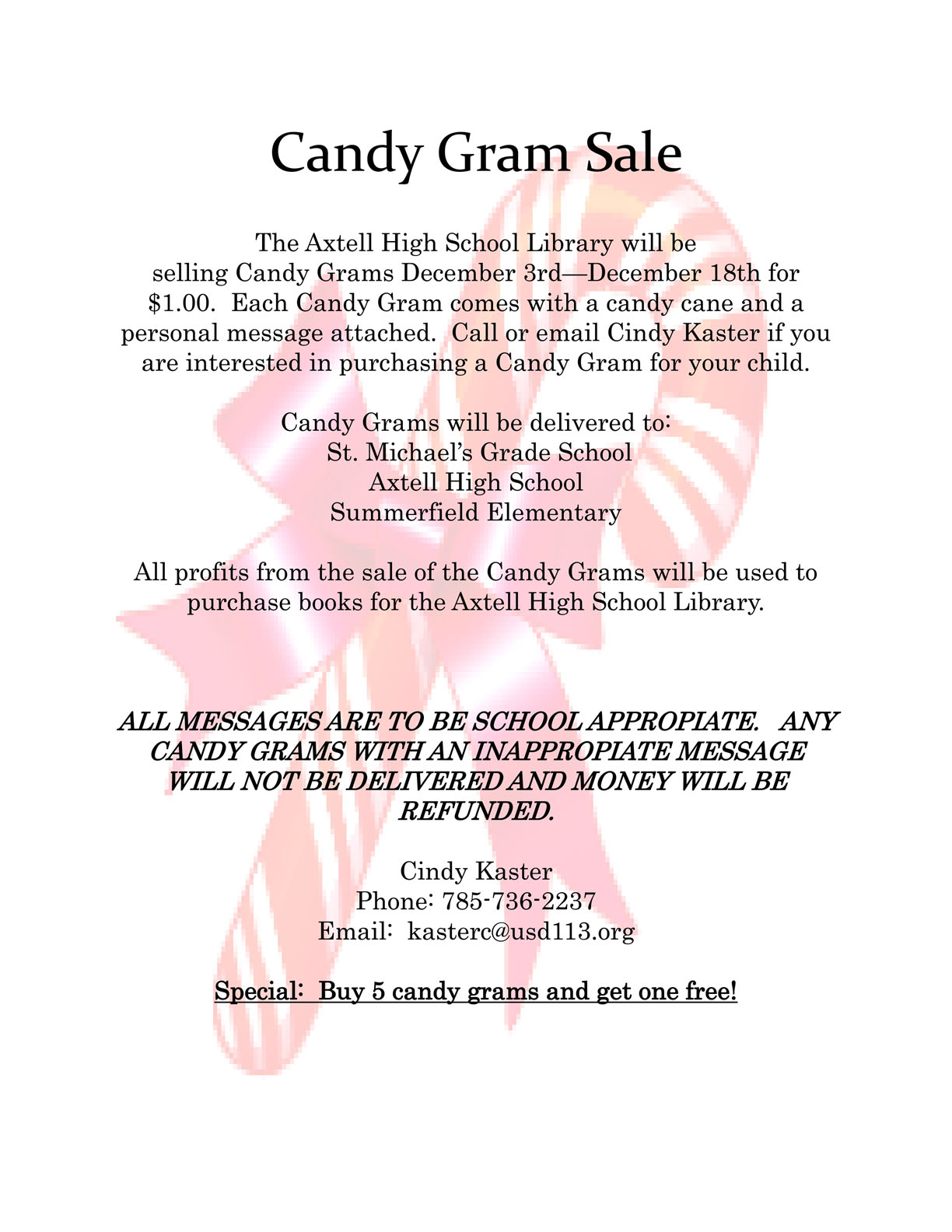 ... Hills USD 113 - Buy Holiday Candy Grams and Support the Library